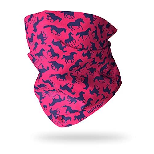 Ruffnek Multifunktionstuch/Kopfbedeckung/Neckwarmer für Damen, Herren & Kinder, Design- Pferde, Rosa/Blau