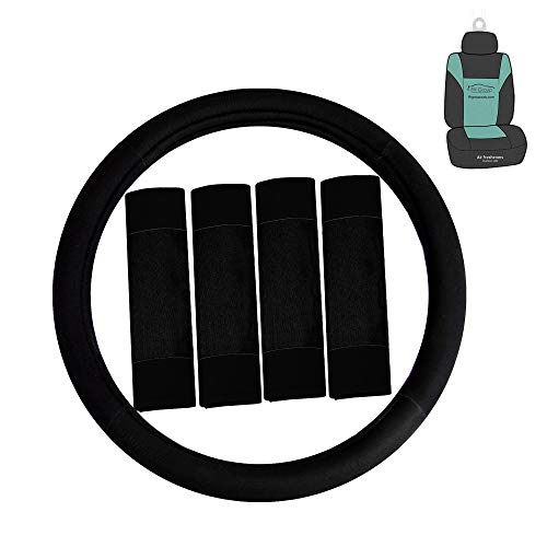 FH Group FH2033 Modernistic Steering Wheel Cover and Seat Belt Pads (Black) with Gift – Universal Fit for Cars Trucks & SUVs