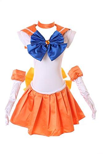 Kawaii-Story MN-H-6003 Venus Crystal Sailor Moon Orange Weiß Cosplay Kleid Handschuhe Set Dress Kostüm Costume (M)