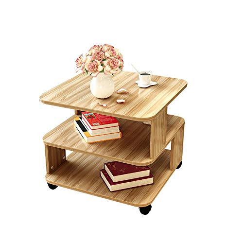 YTSFT Moderne salontafel, rolwielen, theetafel, slaapkamer, woonkamer, bijzettafel, salontafel, nachtkastje, notenhout walnootkleur