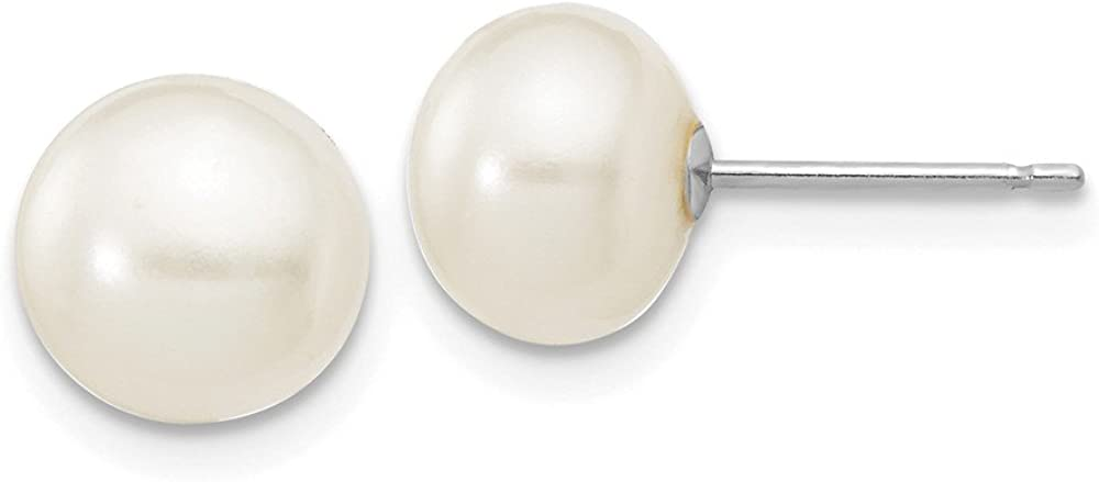 14k White Gold WG White Button Cultured Pearl Stud Earrings (L-7 mm, W-8 mm)