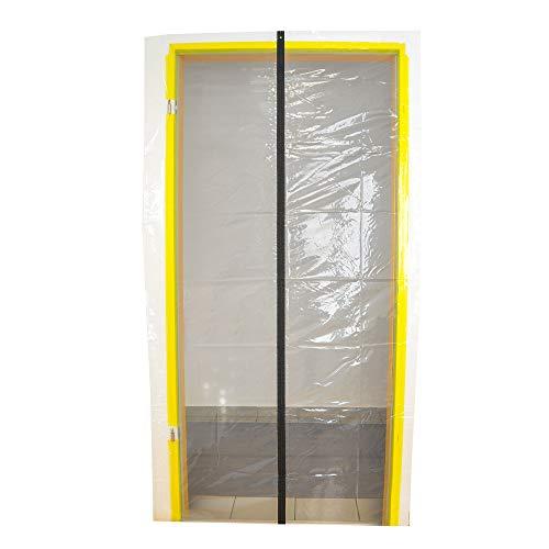 Transparente Folien Staubschutztür 210 cm x 110 cm mit einem mittigen Reißverschluss
