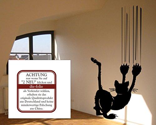 blattwerk-design Wandtattoo - Katze mit Kratzspur - cat - Tiere - Katze an der Wand - Verschiedene Größen und Farben (M070 Schwarz, 1000 mm x 450 mm)