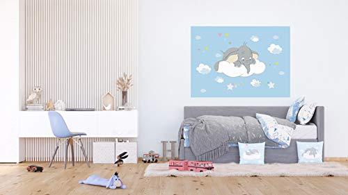 AG Design Dumbo neugierig auf eine Wolke, Disney, Vlies Fototapete für EIN Kinderzimmer, 160 x 110 cm, FTDN M 5269, Mehrfarbig