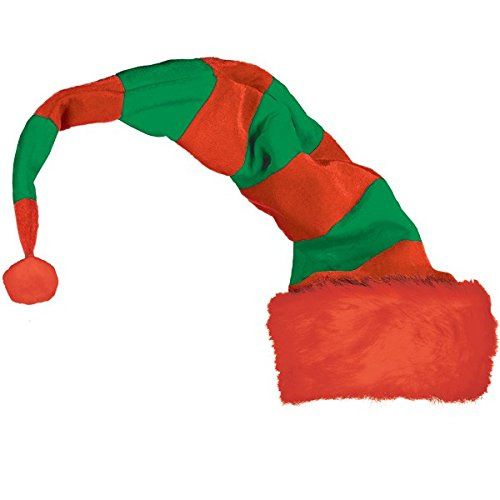 Long Striped Felt And Plush Elf Hat | Christmas Accessory