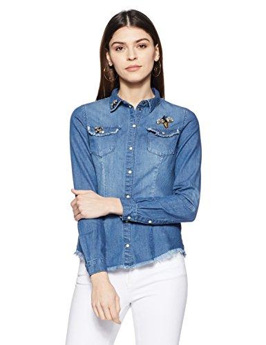 ONLY Damen onlROCK IT FIT LS RAW EMBB DNM Shirt QYT Hemd, Blau (Medium Blue Denim), Small (Herstellergröße: 36)