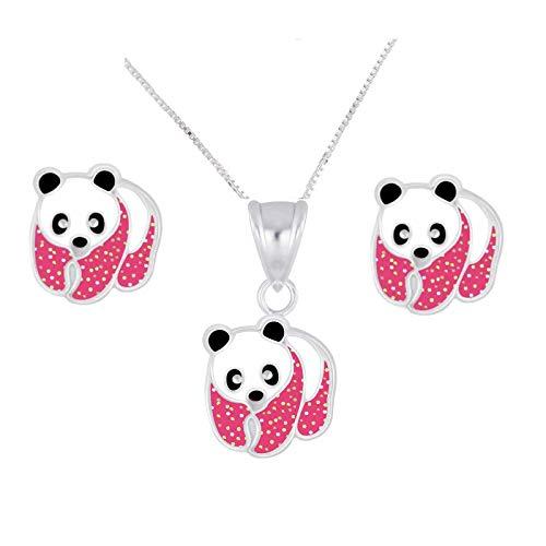 FIVE-D Set Kette Anhänger Kinder Ohrringe Panda Bär aus 925 Sterling Silber im Schmucketui (Pink)