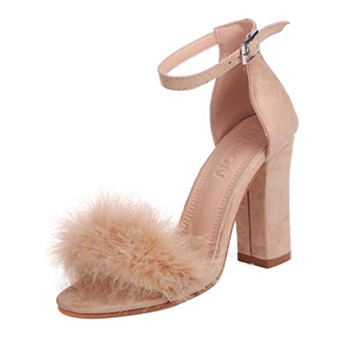 High Heels Sandaletten für Damen/Dorical Frauen Sommer Sandalen Blockabsatz High Heel Sandaletten Feder Adorn Schnalle Ankle High Heels Offene Spitze Schuhe Ausverkauf(Rosa,35 EU)