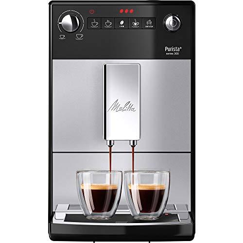Melitta Purista F 230-101 Kaffeevollautomat mit flüsterleisem Kegelmahlwerk (Direktwahltaste, 2-Tassen Funktion, 20 cm Breite, entnehmbare Brühgruppe) silber/schwarz