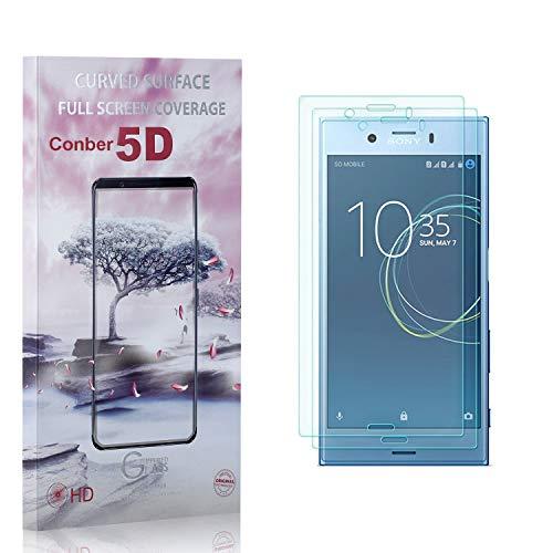 Conber [2 Pièces] Verre Trempé pour Sony Xperia XZ1 Compact, [9H Dureté][Haut Définition][sans Bulles] Ultra-résistant Film de Protection écran pour Sony Xperia XZ1 Compact