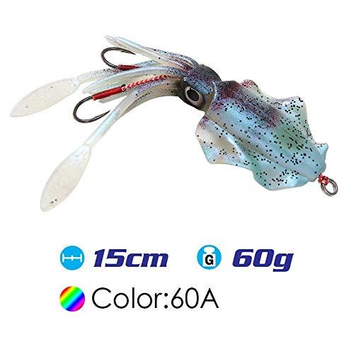 L-MEIQUN, 15cm / 60g UV Glow Fishing Señuelo Suave Pulpo Calamar Pesca Mar Pesca de mar Wobbler Cebo Calamares Jigs Señuelos de Pesca Señuelo de Silicona (Color : SQ M 60A)