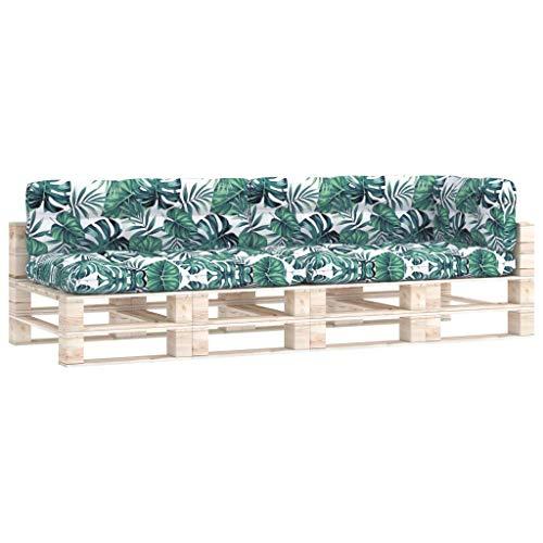 vidaXL Cojines para Sofá de Palés 5 Piezas Asiento Silla Respaldo Jardín Patio Balcón Terraza Exterior Suave Cómodo Decoración Estampado de Hojas