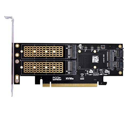 Cablecc PCI Express PCI-E 3.0 y Dual SATA a NGFF NVME MSATA M-Key B/M-Key SSD Adaptador 3in1