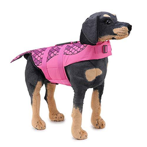 ZXYSR Schwimmweste Hund Hundeschwimmweste,Schwimmwesten für Hunde Größenverstellbar mit Griff und Reflektoren,Rosa,S