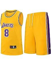 Kids Jongens Meisjes Mannen Volwassenen NBA LBJ LA Lakers, Summer Basketball Jersey korte mouwen T-shirt + korte broek Kleding Outfit Set,Yellow,S