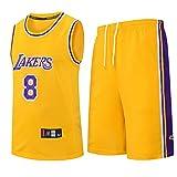 Los niños muchachas de los cabritos de los hombres adultos de la NBA LBJ LA Lakers, camiseta de baloncesto de verano de manga corta camiseta + pantalones cortos de la ropa fijaron el equipo,Amarillo,M