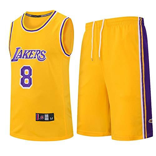 Los niños muchachas de los cabritos de los hombres adultos de la NBA LBJ LA Lakers, camiseta de baloncesto de verano de manga corta camiseta + pantalones cortos de la ropa fijaron el equipo,Amarillo,S
