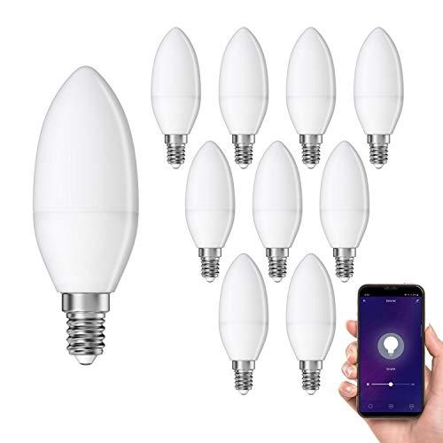 ledscom.de Smart E14 LED candela, Lampadina per Amazon Alexa & Google Home, dimmerabile 4W =32W 350lm 300° bianca calda, 10 PZ