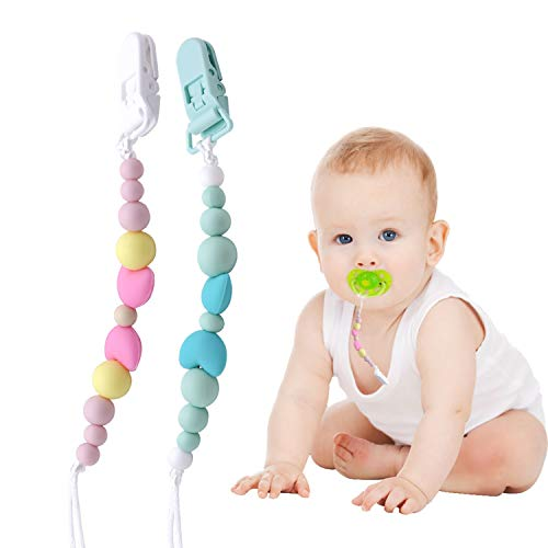 Baby Schnullerkette - Silikon-Perlen mit Clip - 2 Stücke