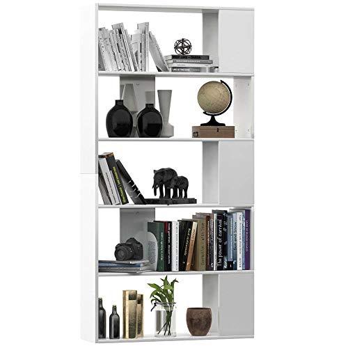 5 Tier Wooden Bookcase Freestanding Book Shelf Shelving Display Storage...