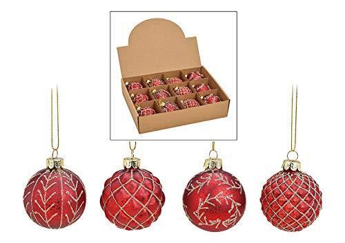 MC 12er Set edle Luxus Glas Weihnachtskugeln Ø 6cm Weihnachtsbaum Kugeln Christbaumkugeln Weihnachts Deko (ROT Gold)