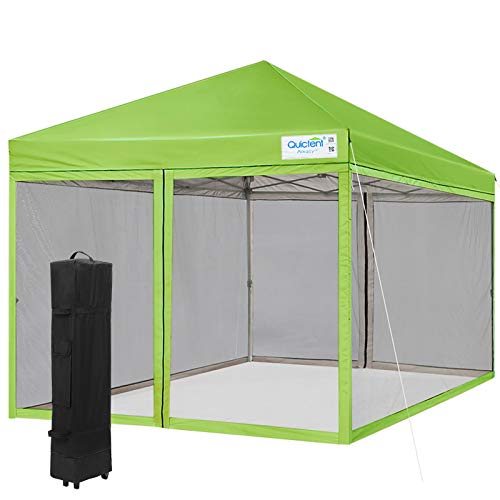 Quictent Ez Pop up Canopy with Netting Screen House Tent Mesh Side Wall (Kelly Green, 8 Feet x 8 Feet)