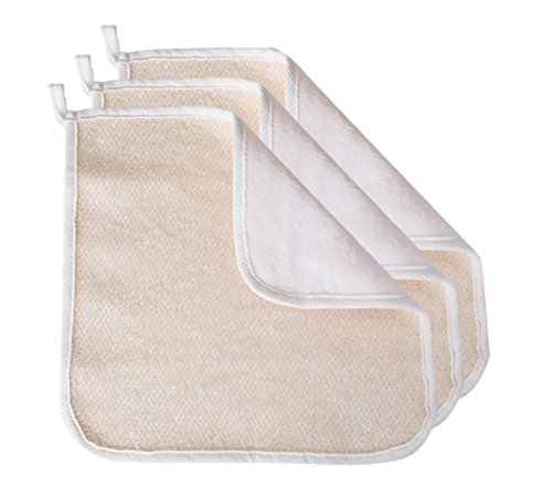 Evriholder Soft-Weave Wash Cloths, Dual-Sided Exfoliating Face and Body Cloths, White, Pack of 3