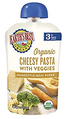 Earth's Best Organic Stage 3 Baby Food, Cheesy Pasta with Veggies, 3.5 oz. Pouch (Pack of 6)