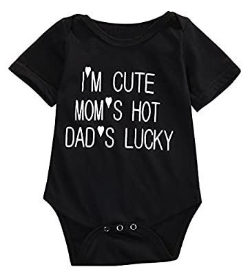 I'M CUTE and MOM'HOT Baby Infant Funny Bodysuits Newborn Onesies Rompers