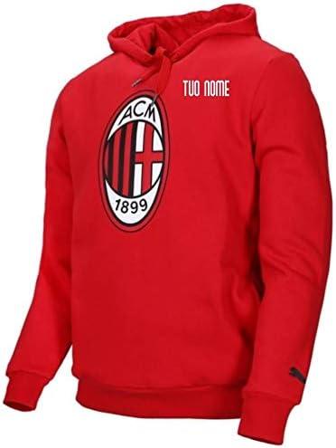 MAESTRI DEL CALCIO Felpa Cappuccio Logo Rossa Bambino AC Milan 19/20 Personalizzata Personalizzabile