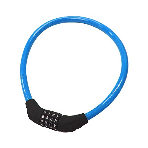 Sanwo Security Bike Lock 4 Digit Resettable Combination Cable Lock for Bicycle, 2 Feet x 1/2 Inch (Blue)