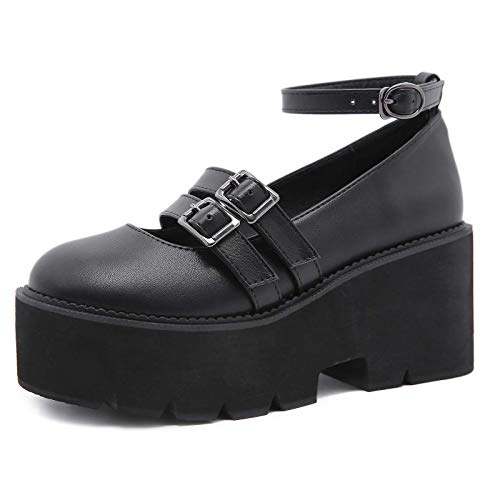 Zapatos Lolita Con Hebilla De Plataforma Para Mujer, Zapatos Estilo Mary Janes Con Tacón Gótico Punk, Zapatos Bajos Con Correa En El Tobillo Y Tacón En Bloque Retro Para Niñas Y Mujeres,Negro,37 EU