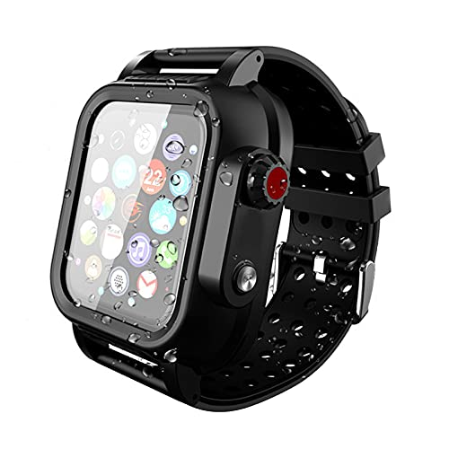 Compatible for Apple Watch 44mm Soft Band Rugged Case with Bulit-in Screen Protector, Full Cover Bumper Shell with Replacement Strap for iWatch Series 6 5 4 SE Waterproof Sport (Black, 44mm)