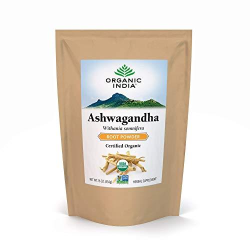 Organic India Ashwagandha Herbal Powder - Stress-Relief, Vegan, Gluten-Free, Kosher, USDA Certified Organic, Non-GMO, Uplift Mood, Supports Endurance, Vitality & Strength - 1 lb Bag