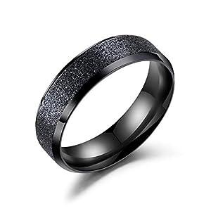 Rockyu ジュエリー 人気ブランドペアリング メンズ 指輪 黒 ステンレス 金属アレルギー対応 男 艶消し 平打ち 婚約指輪18号 シンプル おしゃれ 結婚式 プレゼント