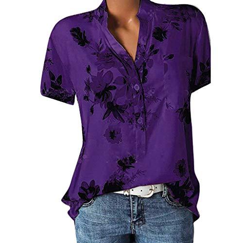 POPLY Frauen Große Größe Top Damen Drucktasche Kurzarmbluse Bohemian Lässige Shirt Plus Size Taste Hemd(Purple,L)