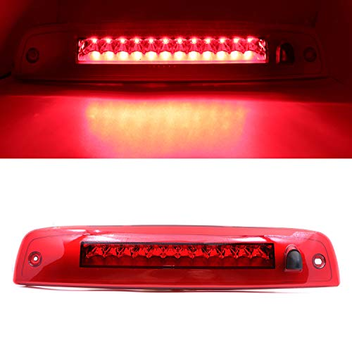 Rear Roof Center LED Third 3rd Brake Cargo Light Assembly, High Mount Stop Tail Light Replacement for 2003-2016 Ford Expedition, 2003-2016 Lincoln Navigator (Chrome Housing Red Lens)