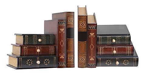 Alice's Collection Buchstützen mit Schubladen, Holz, Antik-Optik, 32 x 15 x 10,5 cm, 2 Stück
