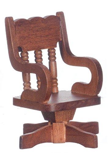 Melody Jane Poupées Miniature Bureau Meuble Noyer Bois Pivotant Bureau Chaise
