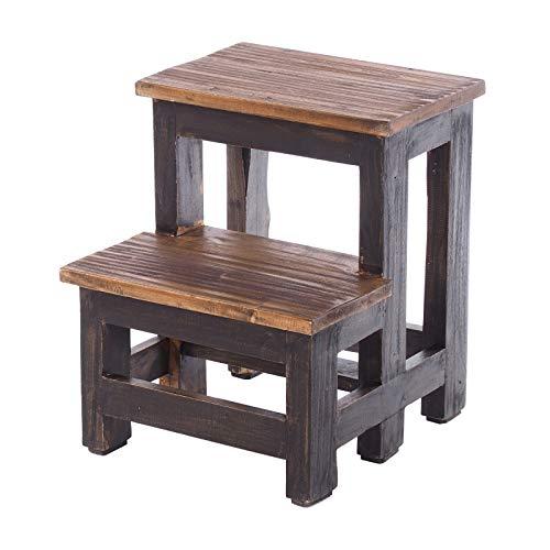 DESIGN DELIGHTS TRITTLEITER Step | 46x37x37 cm (HxBxT), Recycling Holz, zweistufig | Trittleiter, Haushaltstritt | Farbe: 04 schwarz-Natur