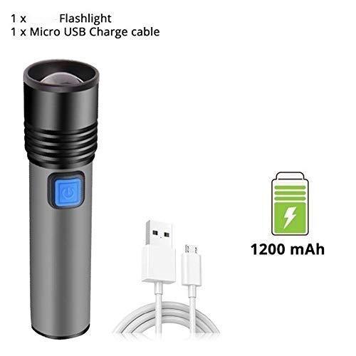nobrand WENTINGLIN Mini Torcia USB Torcia Ricaricabile a LED con LED Built-in 1200mAh Batteria al Litio di Campeggio Impermeabile Luce della Torcia di Zoomable (Emitting Color : A)