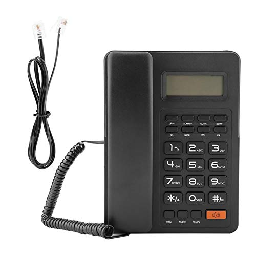 Teléfono fijo duradero de sistema dual, teléfono con cable, negro para oficina en casa con función de visualización de identificación de llamadas