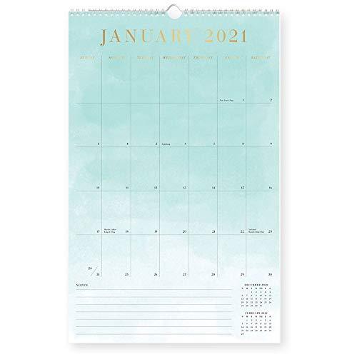 Waste Not Paper, Watercolor Foil Wall Calendar 2021