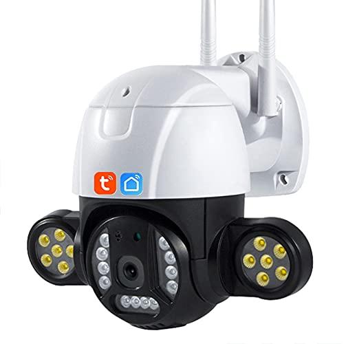 Tuya Smart Life WiFi Cámara IP, cámara de visión nocturna de movimiento humano de vigilancia CCTV de seguridad PTZ HD de 5MP para exteriores funciona con Alexa GH,Camera