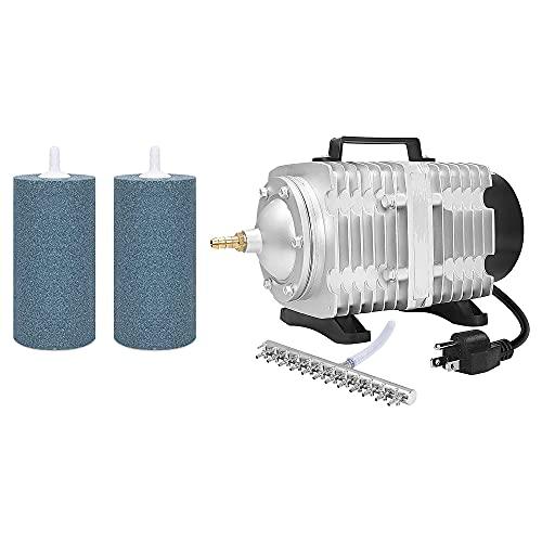VIVOSUN Air Stone 2PCS 4 X 2 Inch Large Air Stone 1750GPH Commercial Air Pump 102W, 110L/min, 12 Outlets