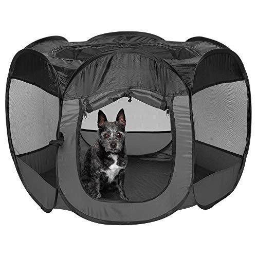 Furhaven Pet Playpen - Indoor-Outdoor Mesh Open-Air Playpen and Exercise Pen Tent House Playground...