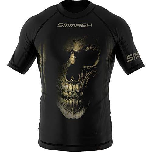 SMMASH Night Shift Rashguard Kurzarm Herren, Kampfsport Funktionsshirt Herren Atmungsaktiv und Leicht, Sportoberteile für MMA, Krav MAGA, BJJ, K1, Slim Fit, Hergestellt in der EU (L)