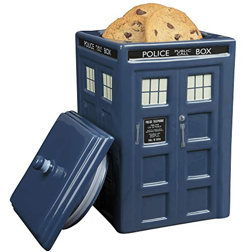 Doctor Who TARDIS Cookie Jar - Collectible Ceramic Dr. Who Police Box with Lid - 10'h