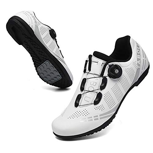 KUXUAN Calzado de Ciclismo para Hombre - Calzado Transpirable para Bicicleta de Montaña y Carretera, Calzado Deportivo Asistido con Tiras Reflectantes,White-10UK=(270mm)=44EU