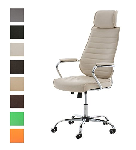 CLP Silla de Oficina Rako en Cuero Sintético I Silla Ejecutiva Regulable en Altura I Silla de Escritorio Giratoria I Color: Crema